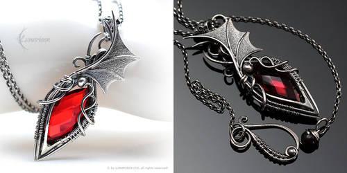 XAHTZNARIL - Silver, Red Quartz and Garnet by LUNARIEEN