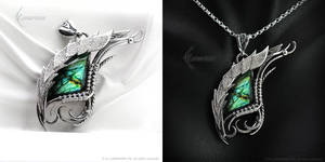 GHANDYRLL - Dragon's Eye - Silver and Labradorite by LUNARIEEN
