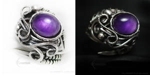 ADAMARTIEELTH Silver Ring with Amethyst by LUNARIEEN