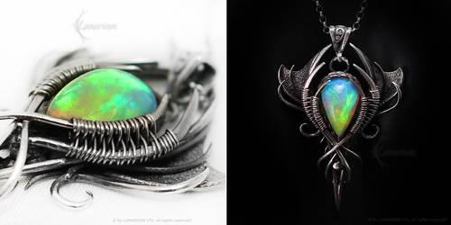 MADARHRAX Silver and Amazing Ethiopian Opal by LUNARIEEN