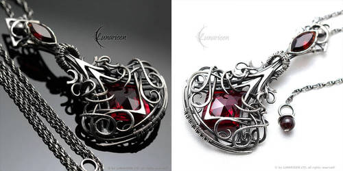 VYNTHARR -  Silver, Red Quartz and Garnets by LUNARIEEN