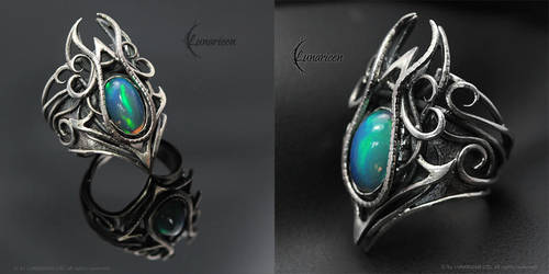 NYFHERN THARII - Gothic Ring - Silver and Opal by LUNARIEEN