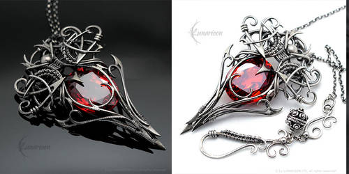 NAUHZZAR ENAQIR - Silver and Red Zirconia by LUNARIEEN