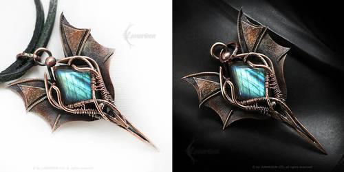 Dragon Pendant Copper and Labradorite by LUNARIEEN