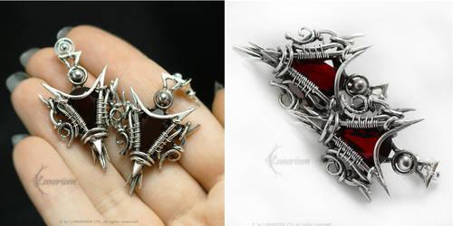 VERLARTH Silver and Dark Red Quartz by LUNARIEEN