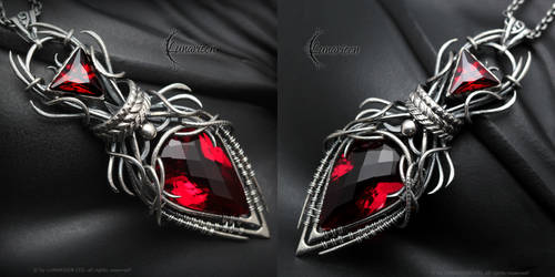 EQNERIEEL - Silver, Red Quartz and Zirconia by LUNARIEEN