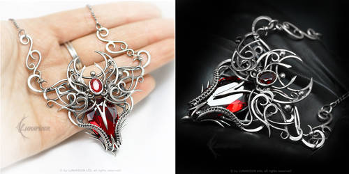 ANTEREELITH Silver, Red Zirconia and Garnet by LUNARIEEN