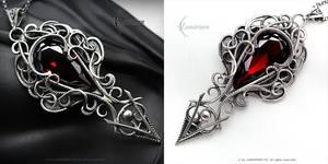 FHANZARTIEEL - Silver and Red Zirconia by LUNARIEEN