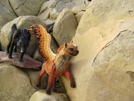 Walk - hyena and black wolf by hontor