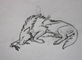Wounded wolf - sketch for pendant by hontor