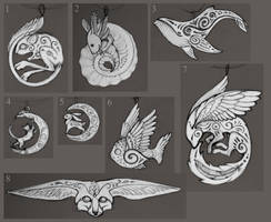 Sketches for pendants by hontor
