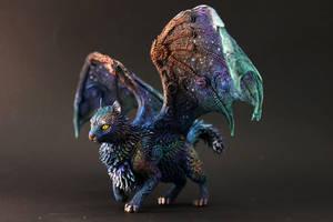 Star Shadow - ooak winged cat by hontor
