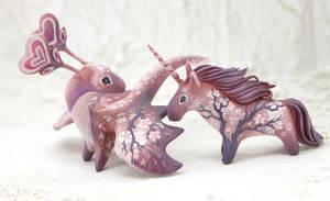 Sakura dragon and unicorn by hontor
