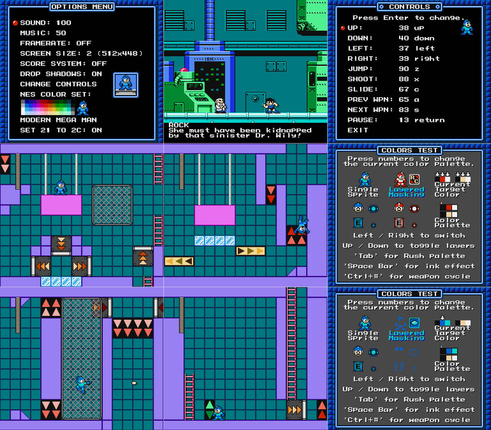 Silly Little MegaMan Game Engine Prototype Screens by N64Mario84