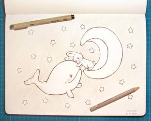 Inktober 12 Whale by julimibz