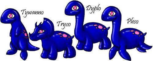 Dynos - 4 Cute Dynosaurs by Solloby
