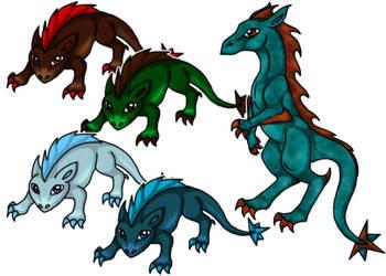 Lizard Raptor Creatures by Solloby
