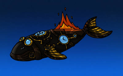 Steampunk Whale on Fire by Solloby