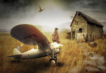 Pilot Girl and Old House by erkanozan
