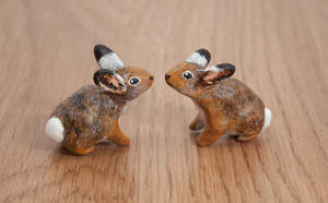 Wild hare couple, polymer clay totem by lifedancecreations