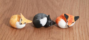 Sweet sleeping foxes totems by lifedancecreations