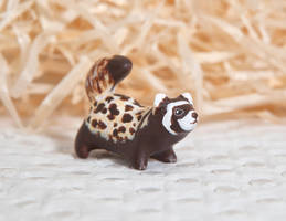 Marbled polecat figurine by lifedancecreations