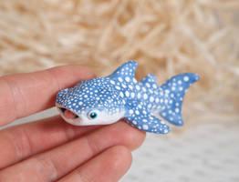 Custom whale shark polymer clay figurine by lifedancecreations