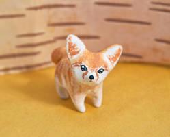 Fennec fox polymer clay totem by lifedancecreations