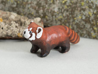 Red panda polymer clay figurine by lifedancecreations
