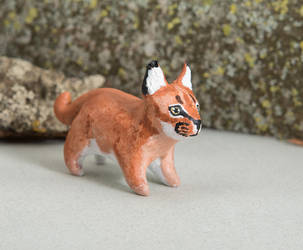 Caracal polymer clay figurine by lifedancecreations