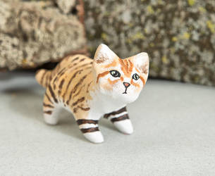 Sand cat polymer clay figurine by lifedancecreations