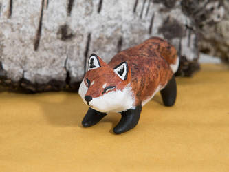Sweet fox polymer clay figurine by lifedancecreations