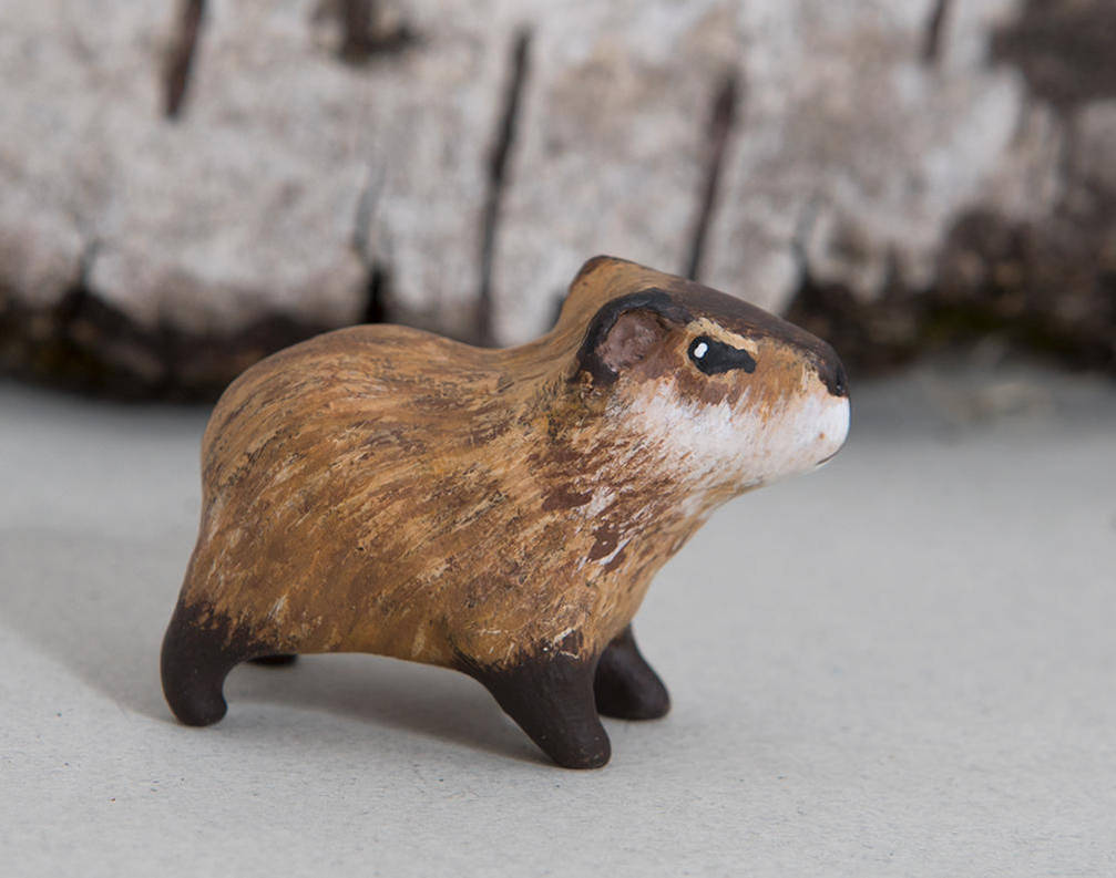 Capybara totem. Polymer clay animal by lifedancecreations