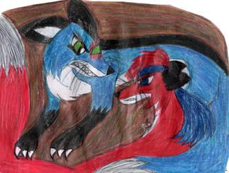 Red Fox vs. Blue Fox confrontation by YuiHarunaShinozaki