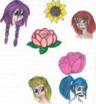 Vi, Giro, Luc and Doro plus flowers by YuiHarunaShinozaki