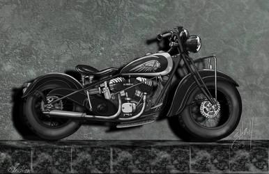 dark 1930's Indian Motorcycle orig by steverino365