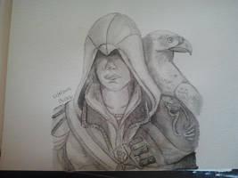 Assassins Creed Ezio Portrait Aquarelle by Zoey-01