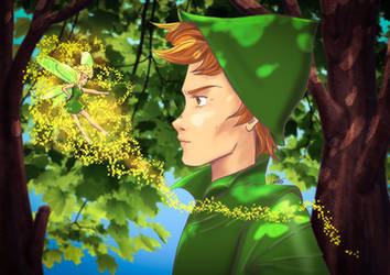 Peter Pan and Tinker Bell by lapaowan