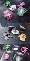 Splatoon 2 Enamel Pins by Aka-Shiro