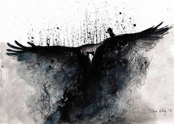 Raven rising from dust (ink painting on canvas) by DoodleWithGlueGun