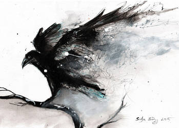 Abstract raven painting by DoodleWithGlueGun