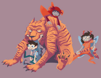 everyone and a got tiger by pickychicken