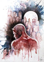 Daredevil watercolor fan art by azparren-victoria