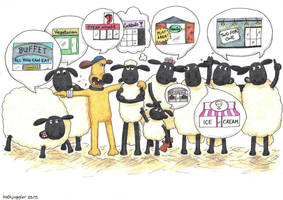 Choosing a Restaurant (Shaun the Sheep) by artjuggler
