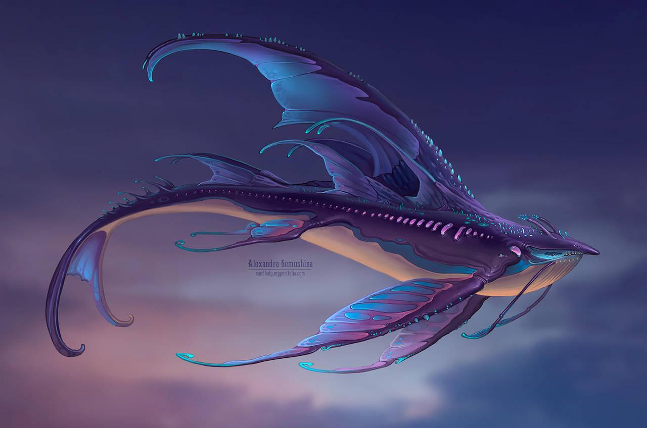 Sky whale: night by Sedeptra