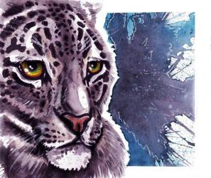 Snow Leopard watercolor by YukiChan89