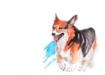 Corgi watercolor painting by YukiChan89