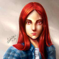 Redhaired girl's face by SandroFujin