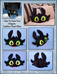 Toothless Plush Pillow by Rei-Doll