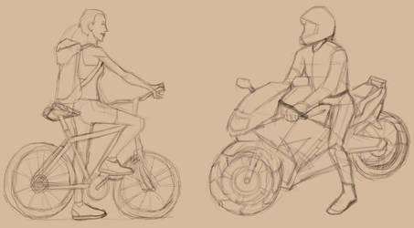 Bicycle vs. Motorcycle. by L0ni